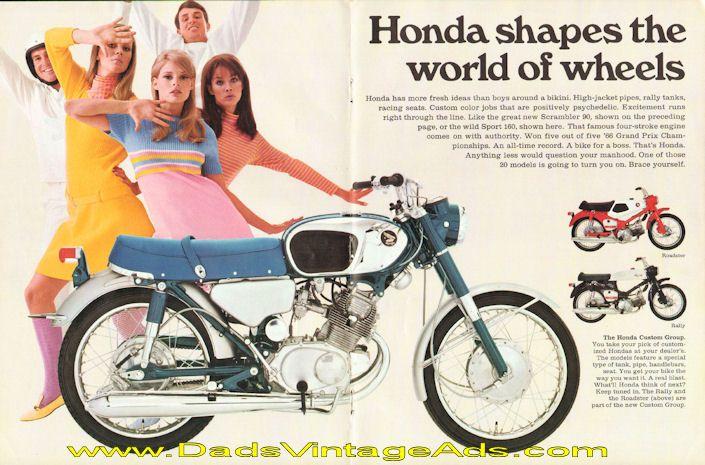 vintage honda motorcycle ads. 1967 honda sport 160 vintage motorcycle ad ads h