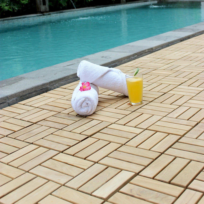 Bare Decor EZ Floor Interlocking Flooring Tiles In Solid Teak Wood (Set Of