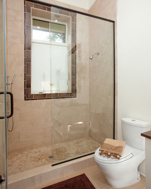 Tile Around Window, Window Ledge, Shower Tile, Neutral Colors In Bathroom, & Windows In Shower