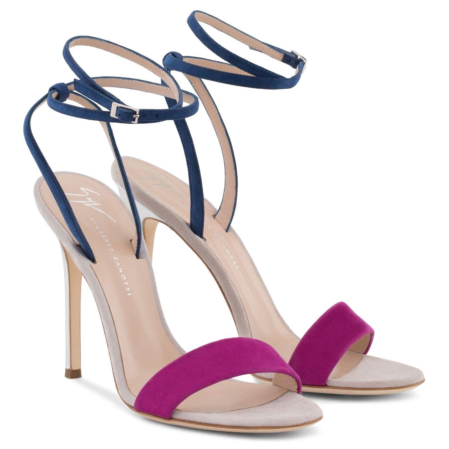 Giuseppe Zanotti Blue and purple suede sandal GEORGINA hQW4KuJW