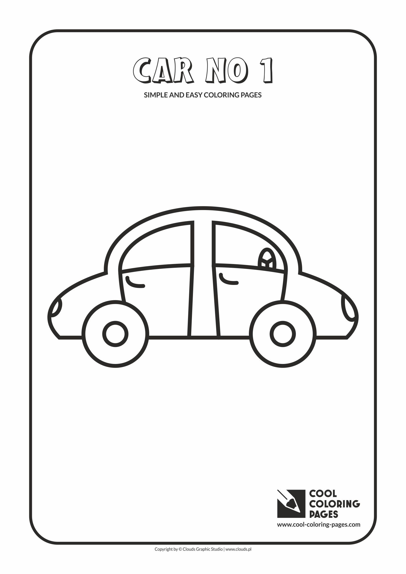 Simple and easy coloring pages for toddlers - Car no 1 | Simple and ...
