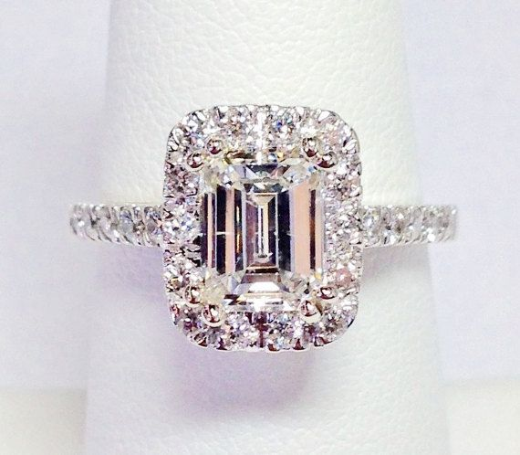 Engagement Ring Memorial Day Sale: 2.00CT Diamond Emerald Cut Halo Engagement Ring