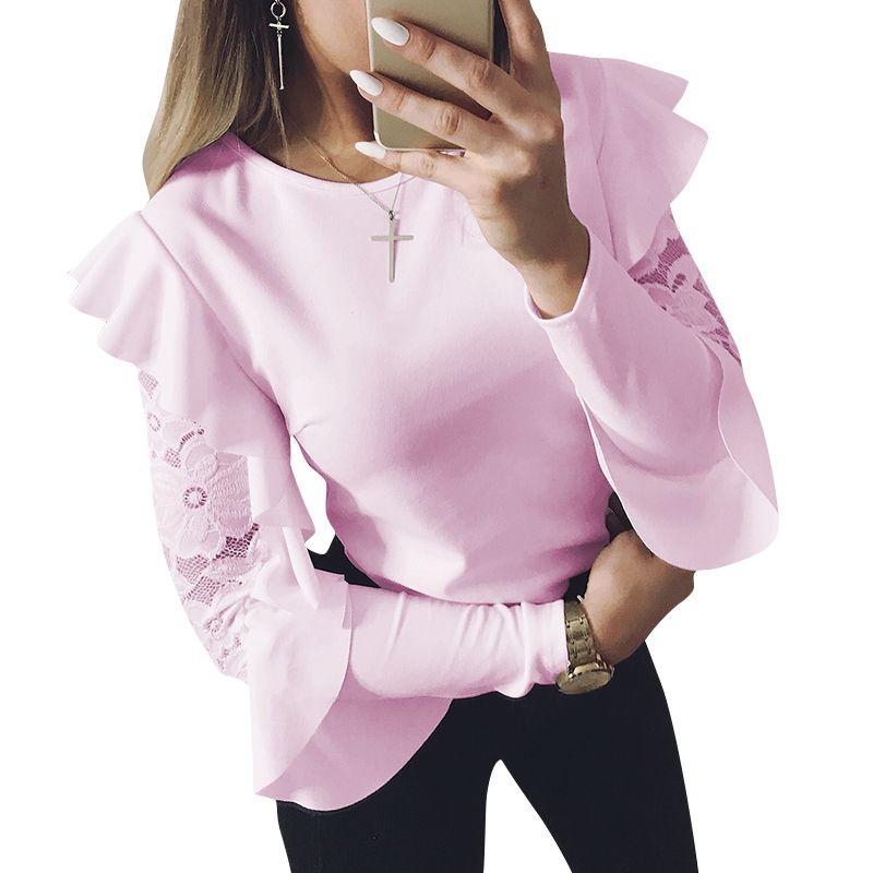 442a744fd2 Cheap 2018 primavera mujer blusa camisa de manga larga Tops camiseta Camisas  colmena Encaje empalme Oficina blusas ws5317u