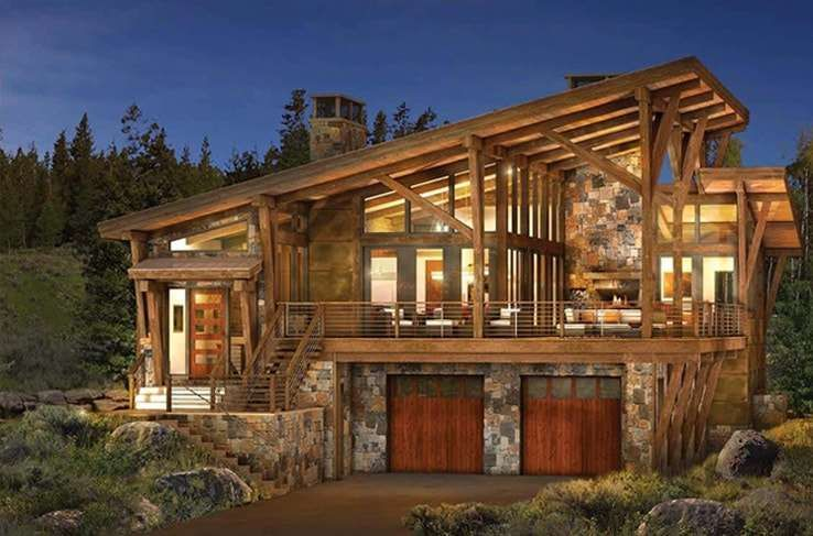 Contemporary log home plans homes pinterest log home for Modern rustic house plans
