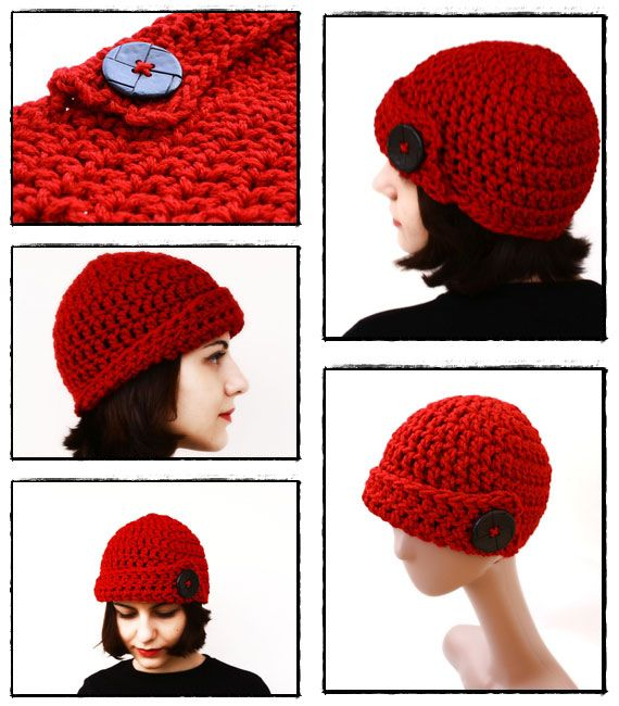 Free Crochet chunky button up skull cap Pattern. | Craft Ideas ...