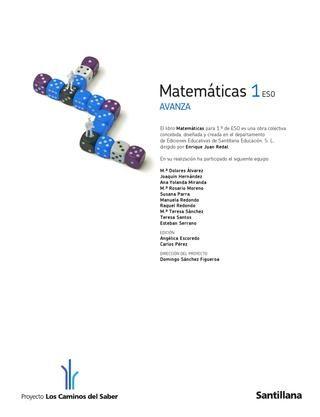 Mates 1ºeso Avanza Santillana Libros De Matemáticas Matematicas Matematicas 1 Secundaria