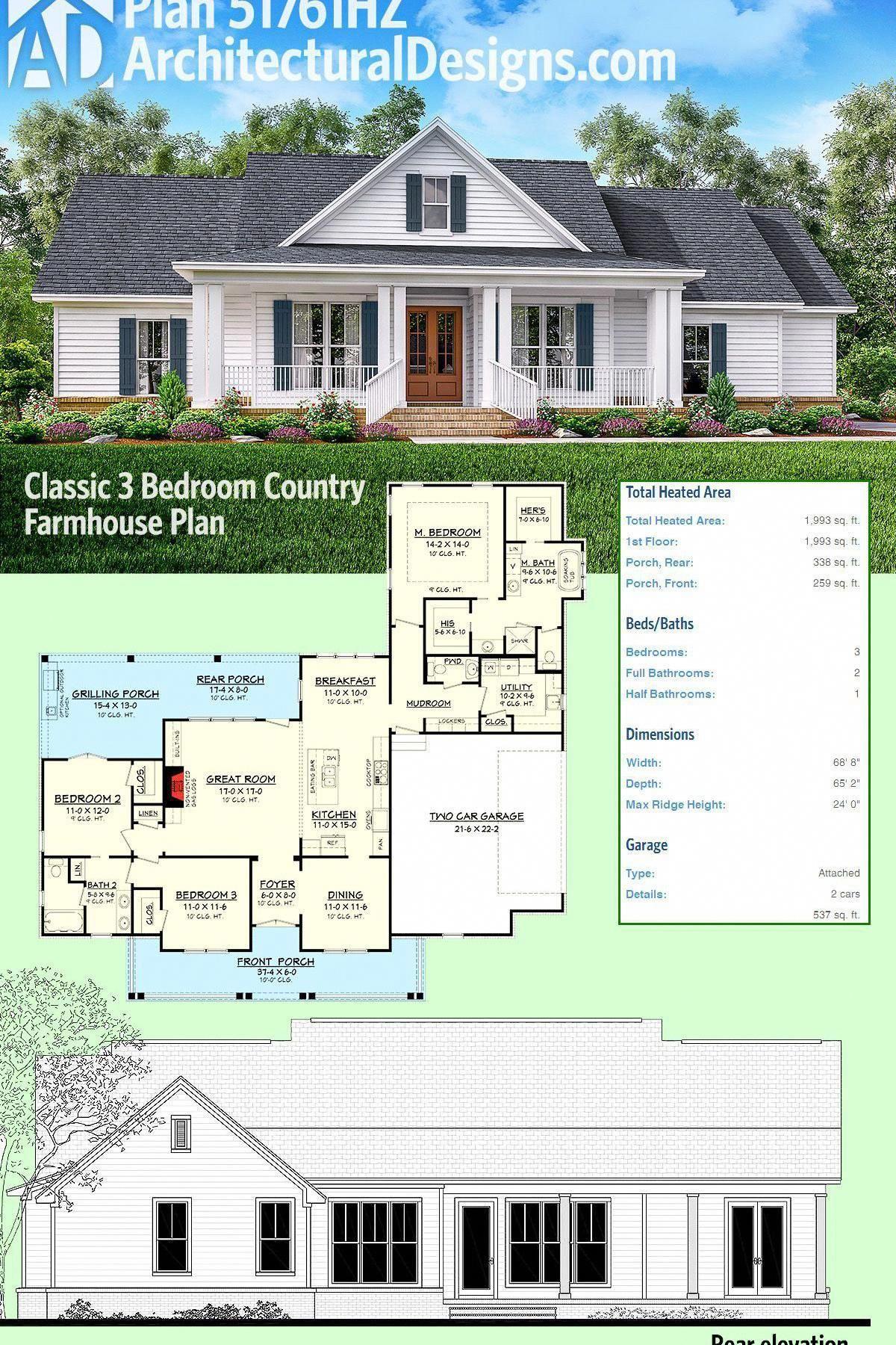 Country Farmhouse Decor Enjoy Countryfarmhousedecor Architectural Design House Plans House Plans Farmhouse Farmhouse Plans