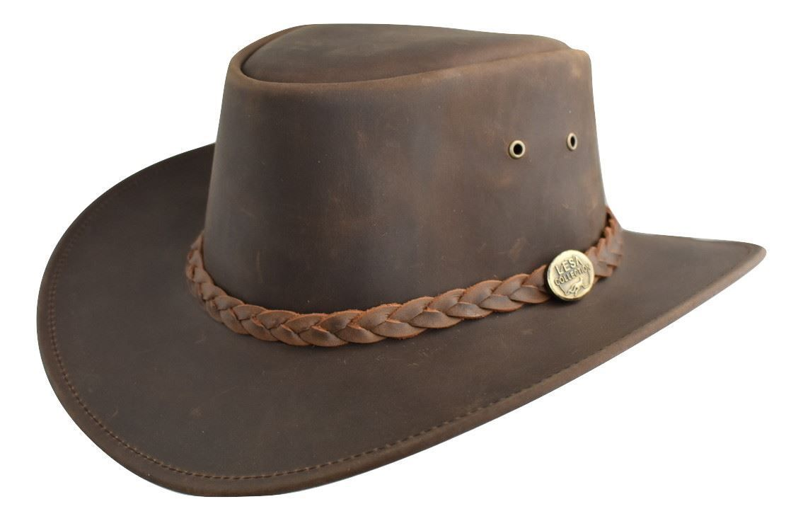 LESA COLLECTION DISTRESSED LEATHER WESTERN OUTBACK AUSTRALIAN STYLE HAT  BROWN f085e53d3517