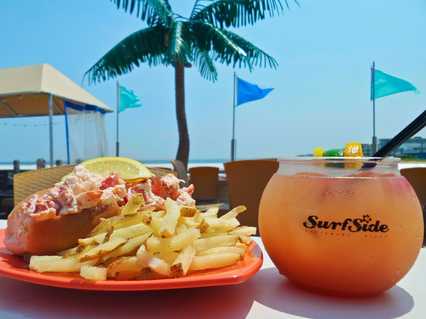 Lobster roll on the deck at SurfSide on Salisbury Beach