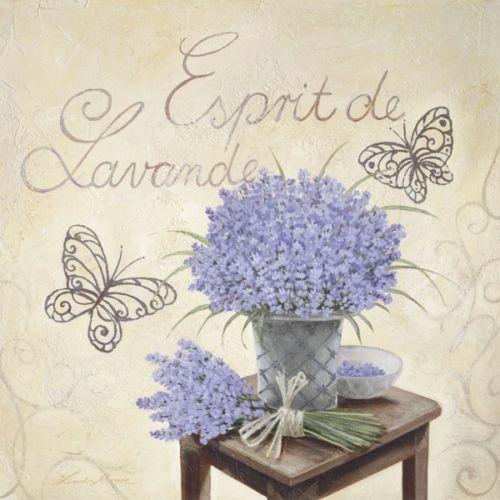 linda moore esprit de lavande fertig bild 30x30 wandbild lavendel landhaus deko all together. Black Bedroom Furniture Sets. Home Design Ideas