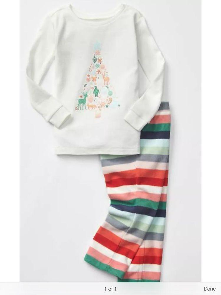 53423d52edf8 Gap Girls Toddler Size 5 5T Christmas Tree Striped Pajamas Fleece PJs | eBay