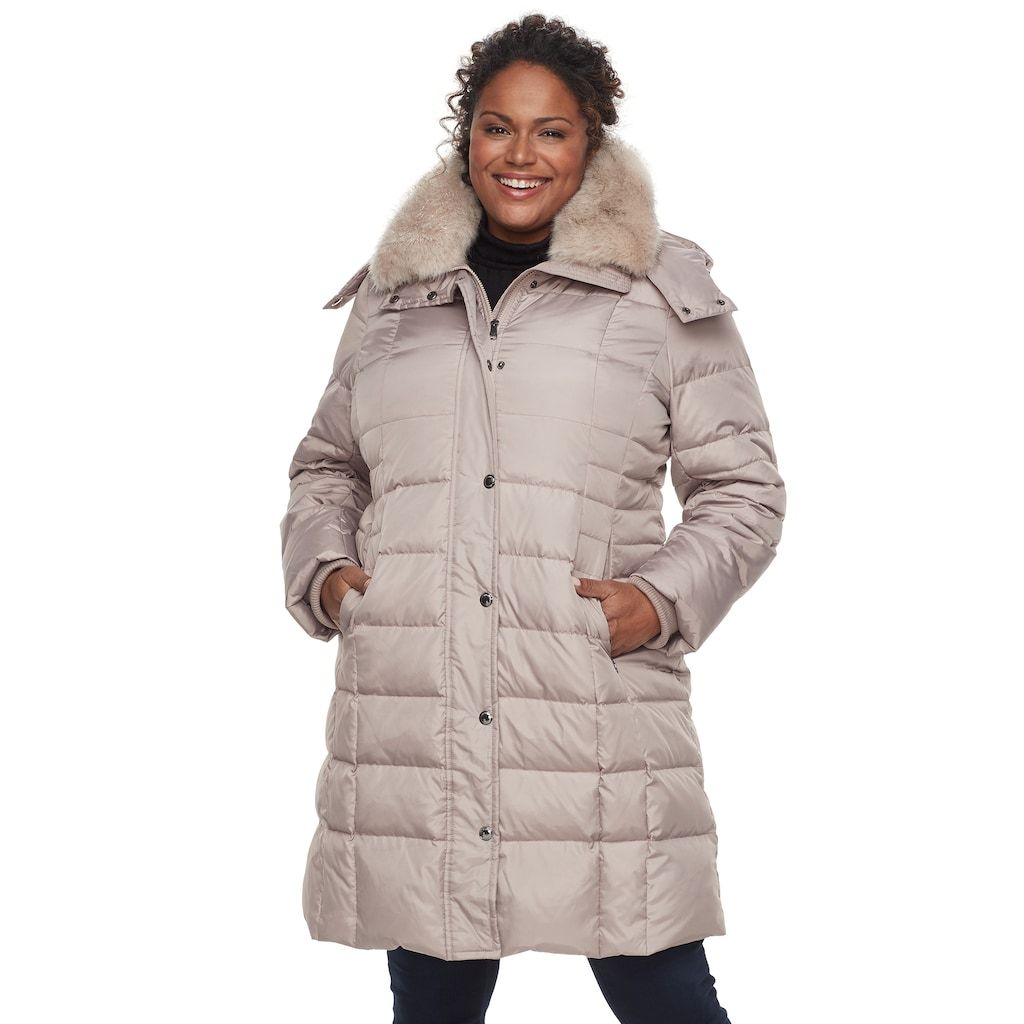4dd4e43ac54 Plus Size TOWER by London Fog Long Faux-Fur Trim Down Puffer Jacket ...