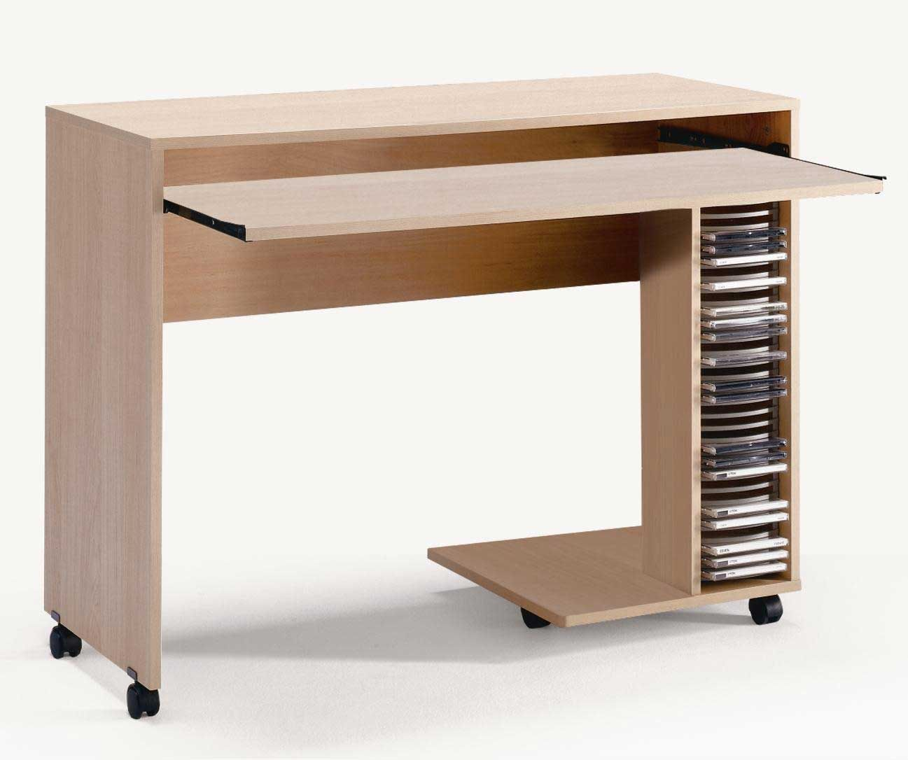 Natural Maple Computer Desk With Cd Rack