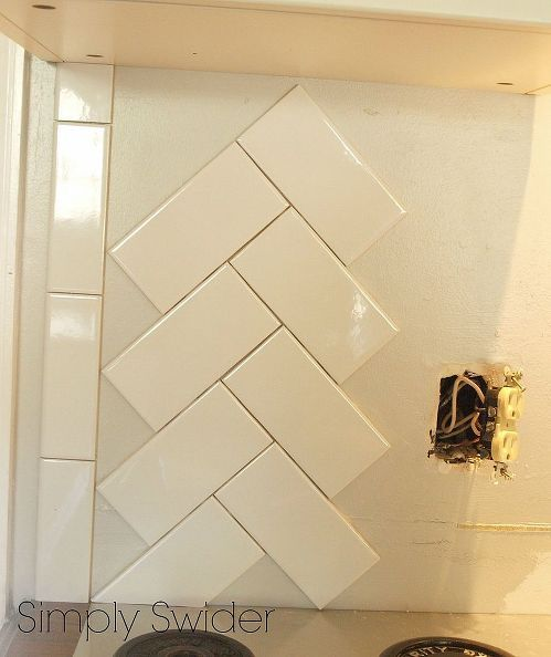 subway tile back splash in a herringbone pattern in 2019 kitchen rh pinterest com