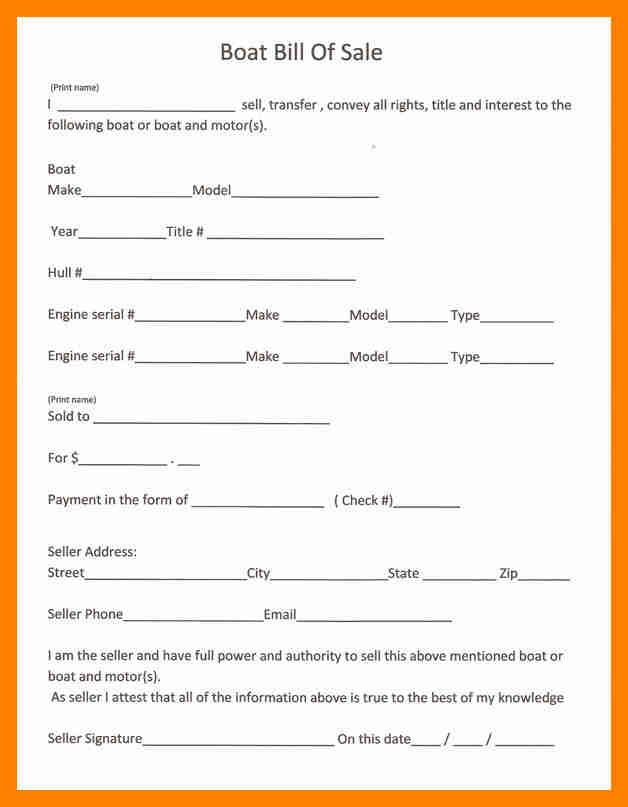 Template For Bill Of Sale Boat With Printable Download By Tablet