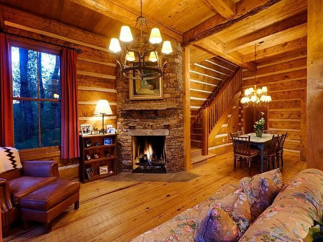 One Room Cabin Decorating | Living Room Fireplace: Cozy Log Cabin in Aspen