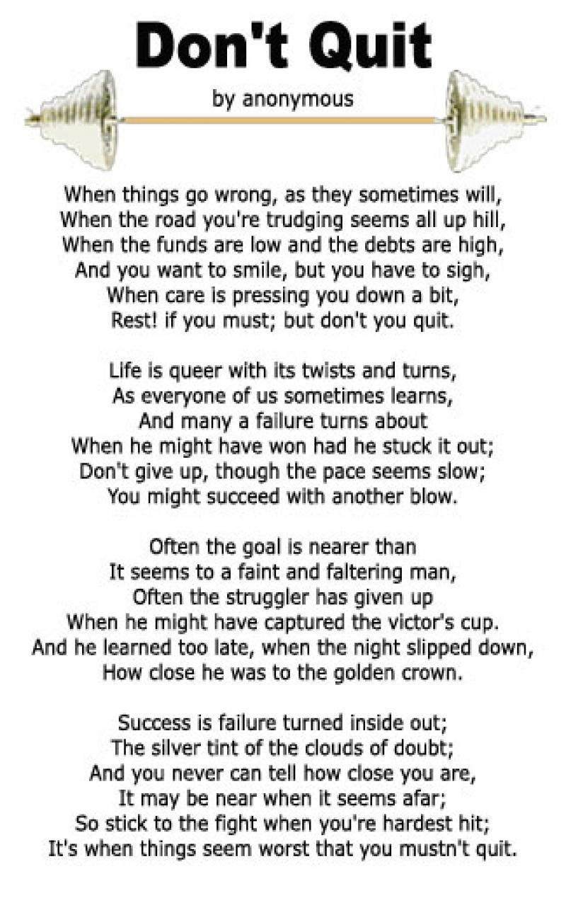 Dont Give Up Poem Want A Copy Of The Dont Quit Poem Right