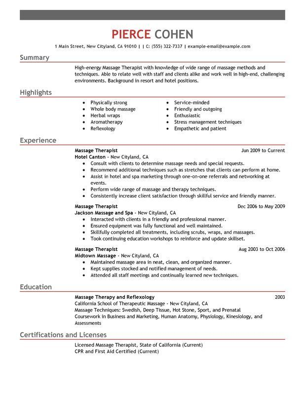 Massage Therapist Resume Sample - My Perfect Resume Massage For - how to write a perfect resume examples