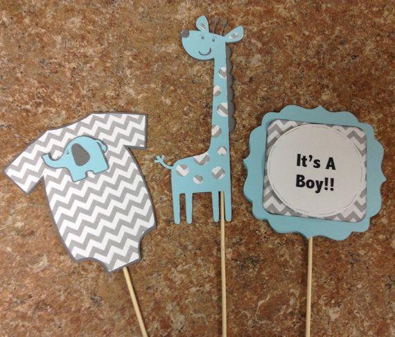 Blue And Grey Chevron Its A Boy Giraffe Centerpieces Grey