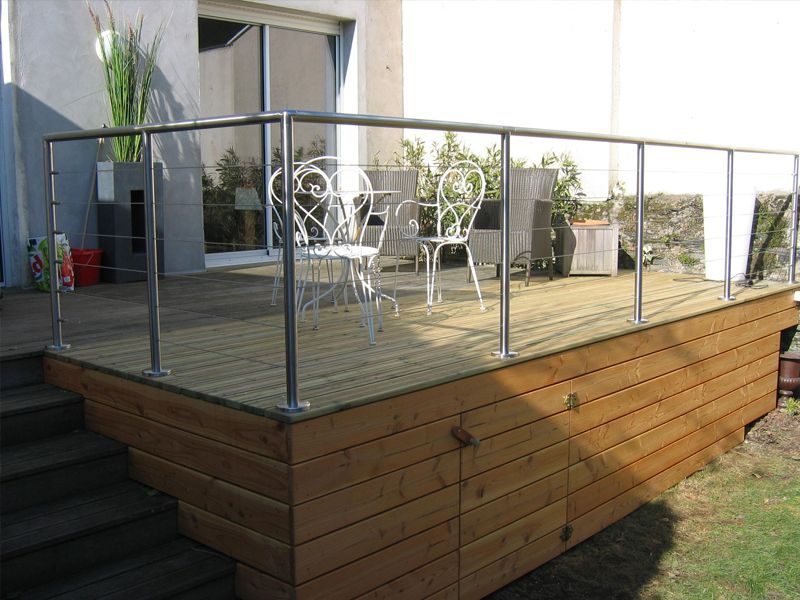 Terrasse bois suspendue sur pilotis et balcons bois à Angers - Realisation D Une Terrasse En Beton
