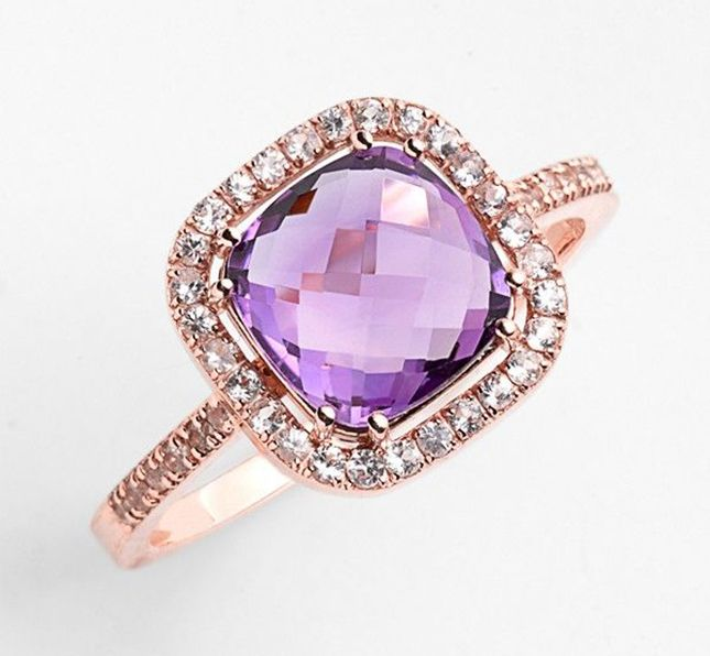 Cushion Stone Sapphire Engagement Ring $770 Rose gold plus