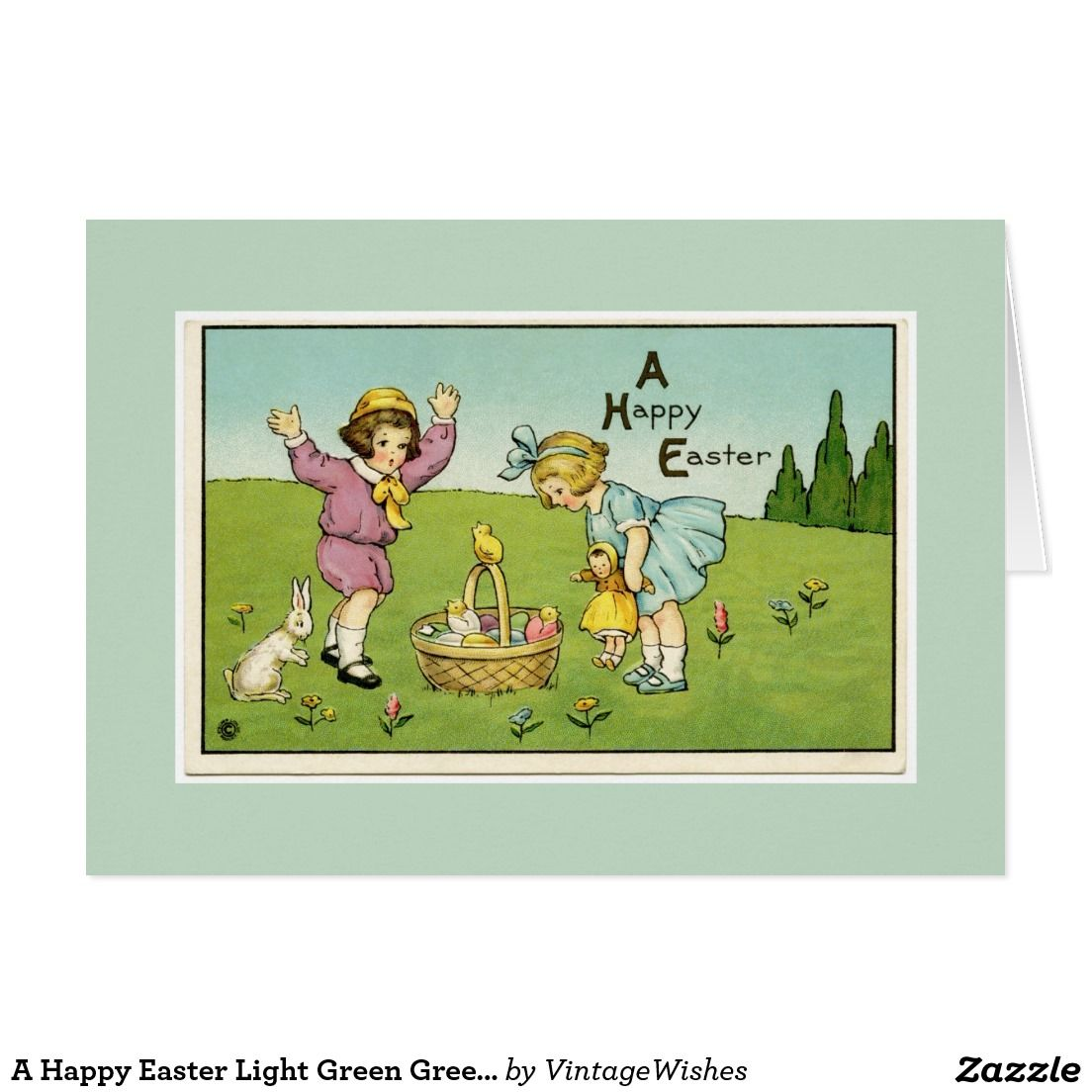 A Happy Easter Light Green Greeting Card Pinterest Happy Easter
