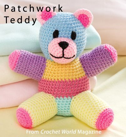 Patchwork Teddy from the August 2013 issue of Crochet World Magazine. Order a digital copy here: http://www.anniescatalog.com/detail.html?prod_id=101985