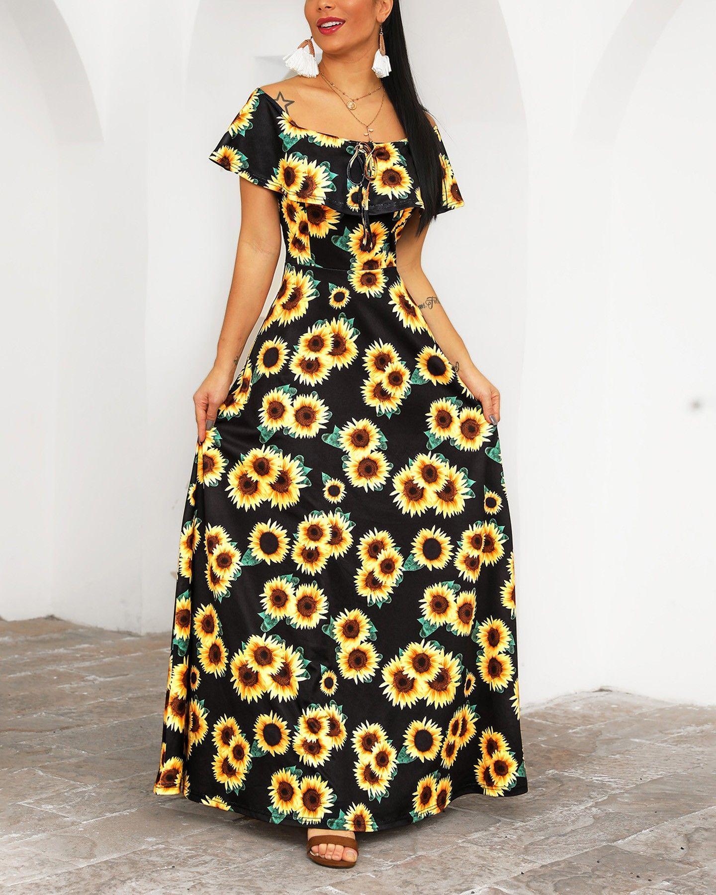 Off Shoulder Sunflower Print Maxi Dress Maxi Dress Printed Maxi Dress Simple Evening Dress [ 1800 x 1440 Pixel ]