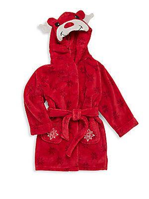 Petit Lem Unisex Holiday Hooded Bathrobe - Red - Size