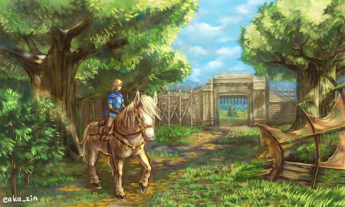 Link riding his horse near some Familiar Ruins. Breath