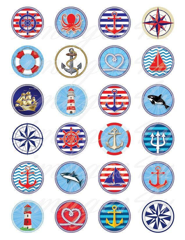 Scrapbooking Cabochons Printable Digital Collage Instant Download Sailor Boys 20mm 30mm 1.5 1 for Bottlecaps