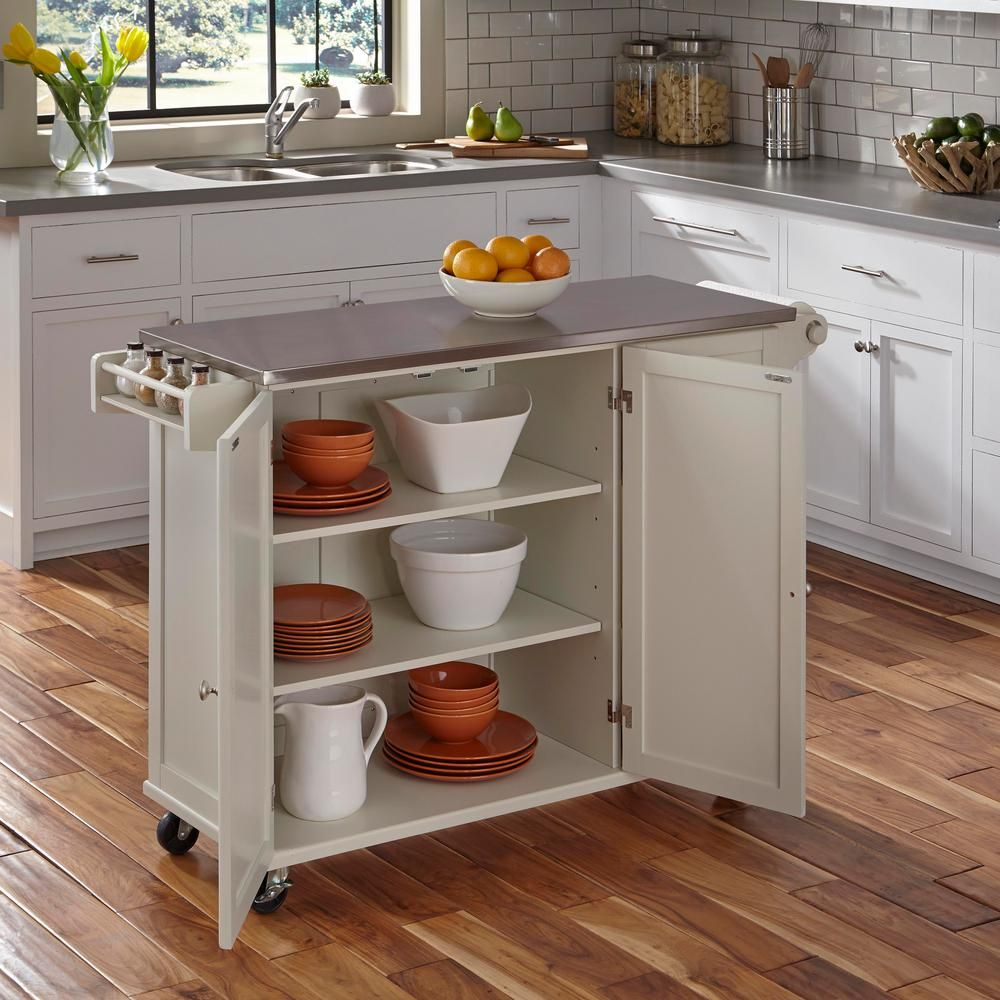 Home Styles Liberty White Kitchen Cart With Stainless Top 4512 95 The Home Depot White Kitchen Cart Portable Kitchen Island Small Kitchen