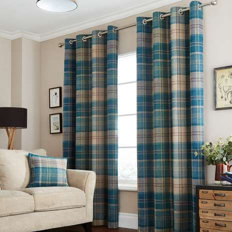 Fully Lined To Regulate Room Temperature And Reduce Draughts These Eyelet Curtains Are Designed With A Checked Pattern Finished In Teal Available