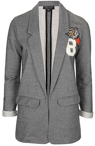 Womens grey badged jersey blazer  blue blue from Topshop - £42 at ClothingByColour.com