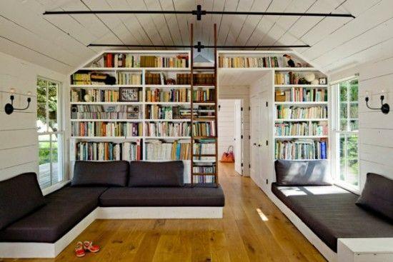 banquette-lit-intérieur-remarquable-grande-bibliothèque ...