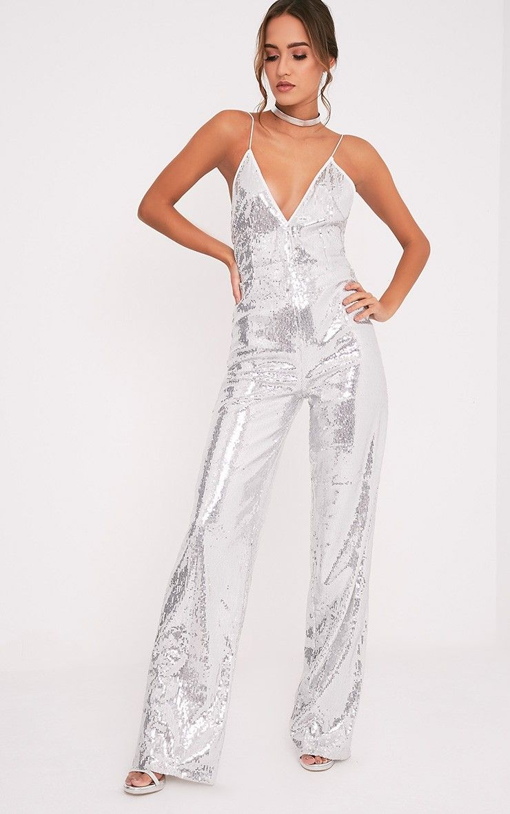 0991fd8f22c9 Silver Sequin Plunge Wide Leg JumpsuitBe sure to shimmer and sparkle this  upcoming party season i.