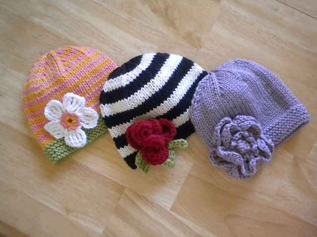 Knitted Baby Hats with Crocheted Flowers pattern by Josey B Harvey ...