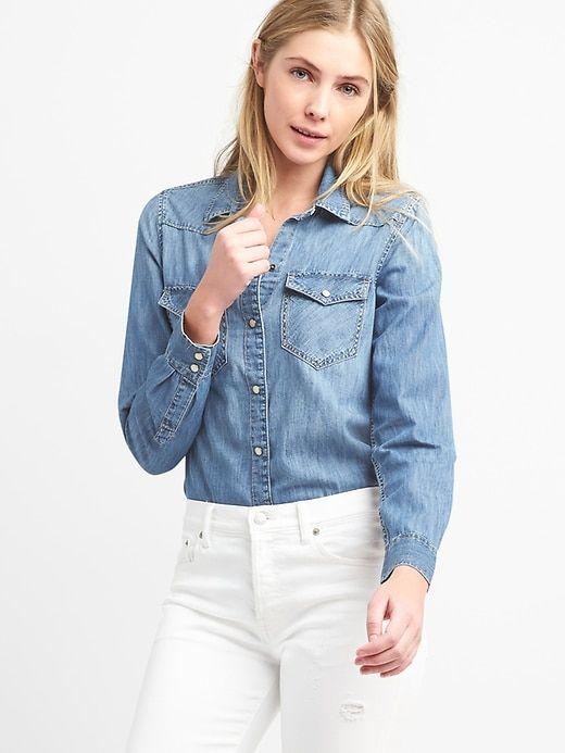 280c9d31f4 Gap Womens Denim Western Shirt In Medium Indigo Light Indigo