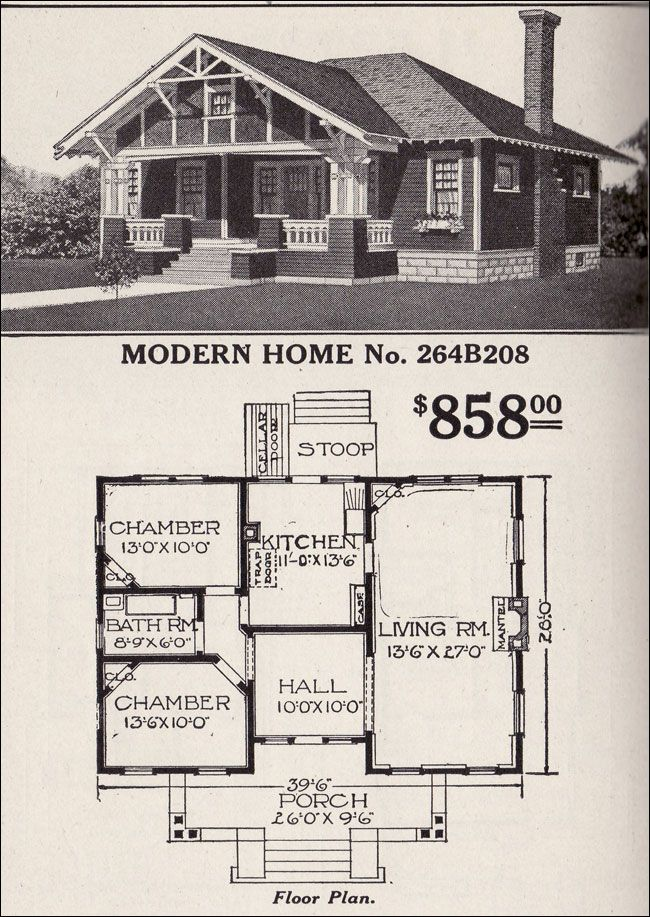 Sears Roebuck Bungalow House Plan Modern Home No 264b208 Hipped Roof Craftsman Style House Roof House Plans Vintage House Plans