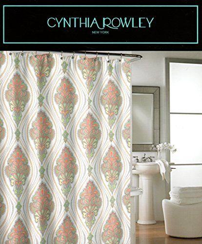 Tahari Luxury Cotton Blend Shower Curtain Turquoise Aqua Gray ...