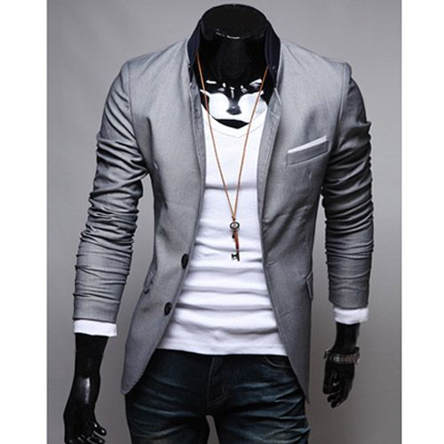 Veste Homme Fashion jacket Men Suit slim fit Gris clair