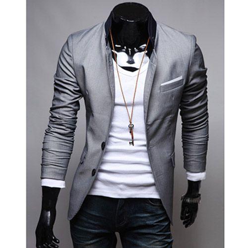 7b1d9beb73b2 Veste Homme Fashion jacket Men Suit slim fit Gris clair   Styling ...