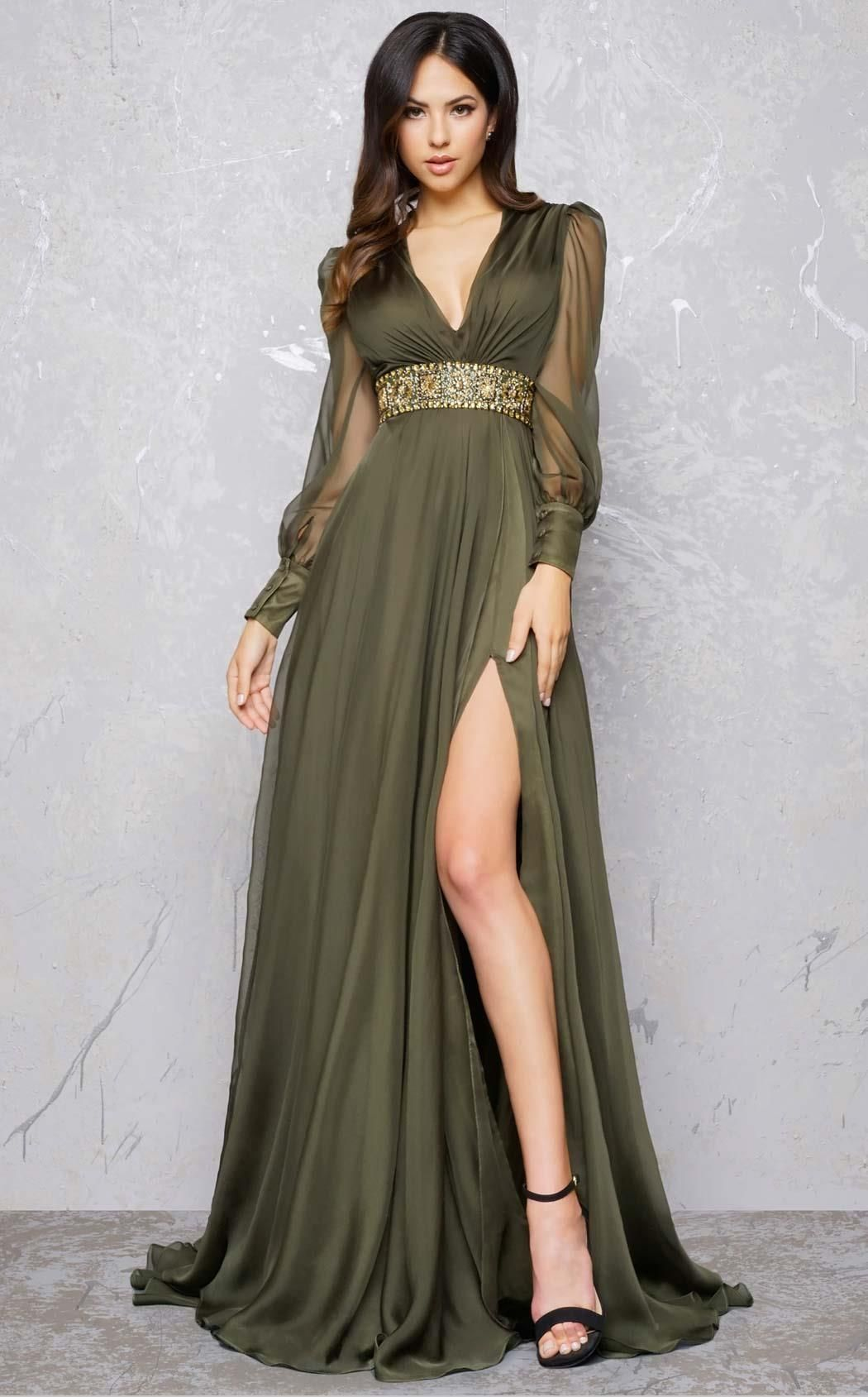 S hollywood evening dress long vneck long sleeve in olive in