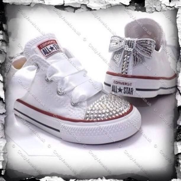 shoes, converse, white, baby shoes, bow, bling, rhinestone
