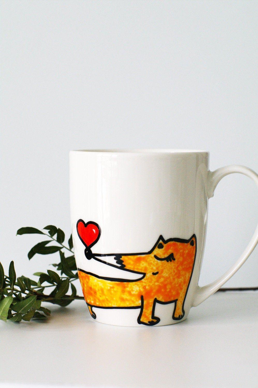 Fox Mug Handmade Fox Porcelain Cup Mothers Day Gift In 2020 Christmas Mugs Fox Christmas Mugs