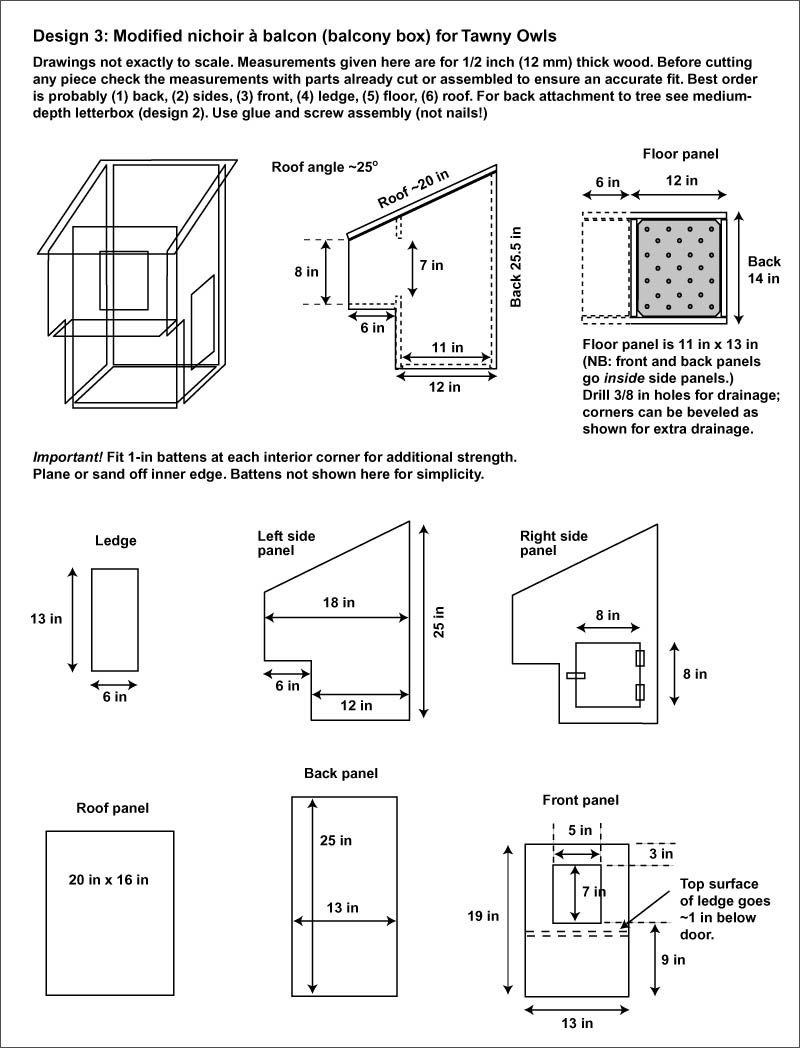 tawny owl strix aluco owl nest box nestbox letterbox nichoir balcon design plan. Black Bedroom Furniture Sets. Home Design Ideas