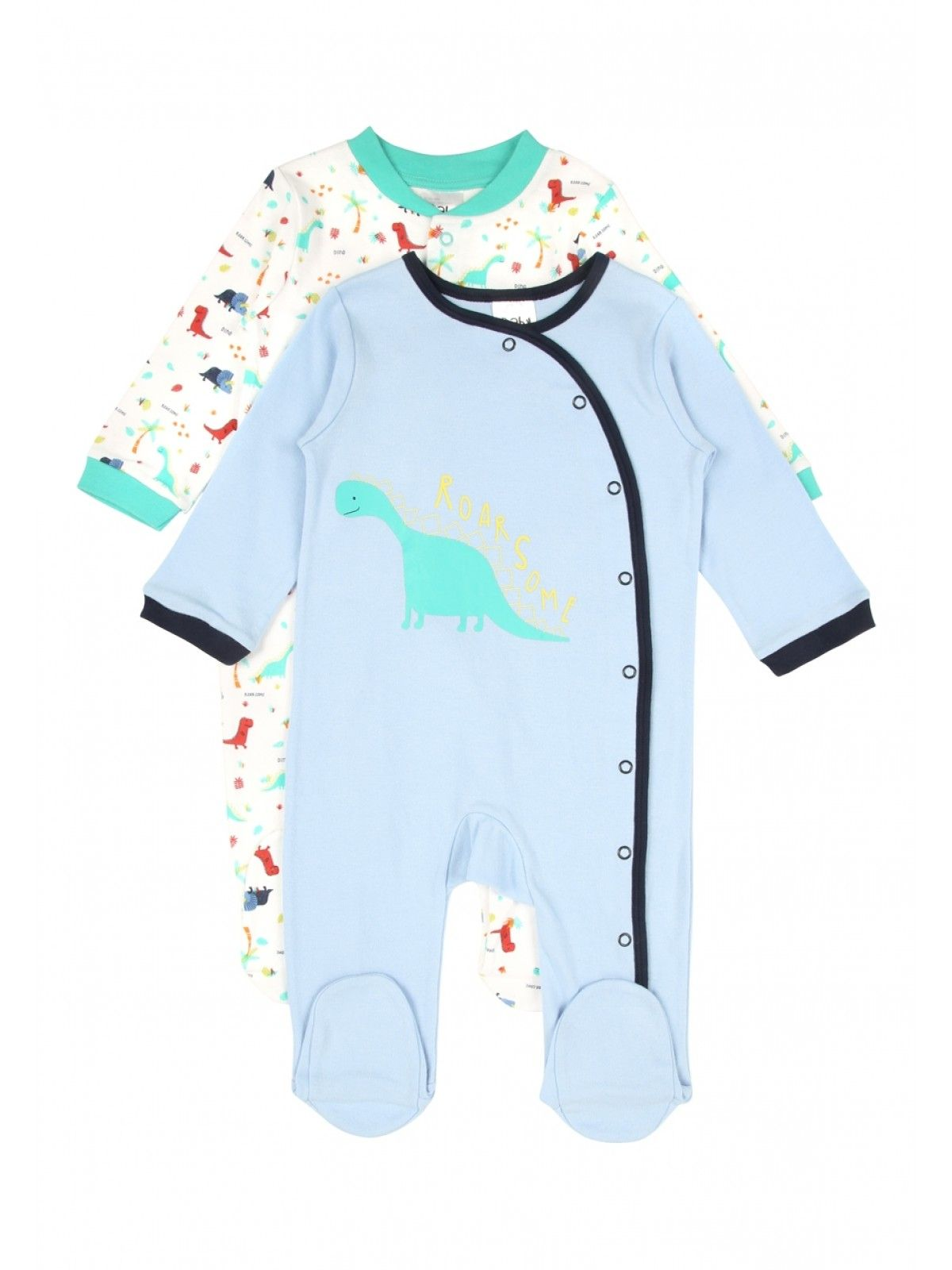 Baby Boys 2 Pack Dinosaur Sleepsuits See more at
