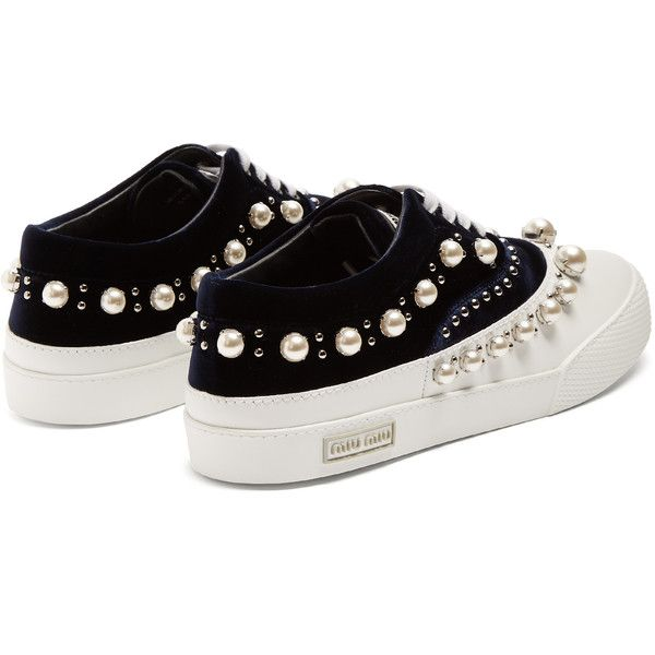 45f12f42c2 Miu Miu Faux pearl-embellished velvet and rubber trainers (12.846.850 IDR)  ❤ liked on Polyvore featuring shoes