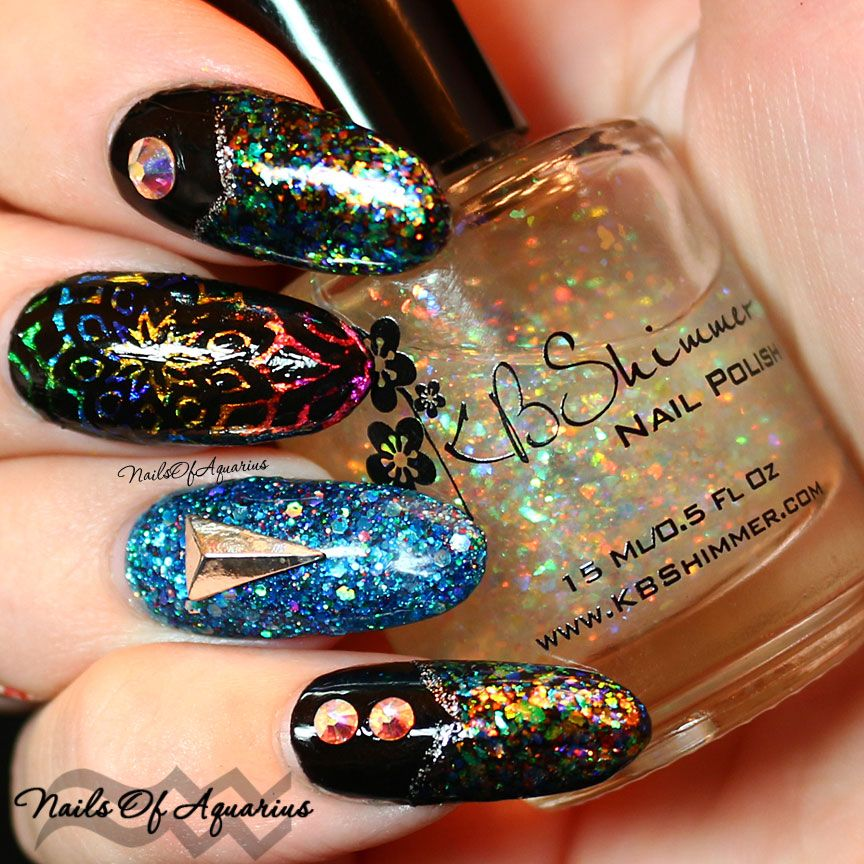 """I See Rainbows"" Stamped Nail Art Design featuring KBShimmer 'Rainbow Shield' flakie polish"