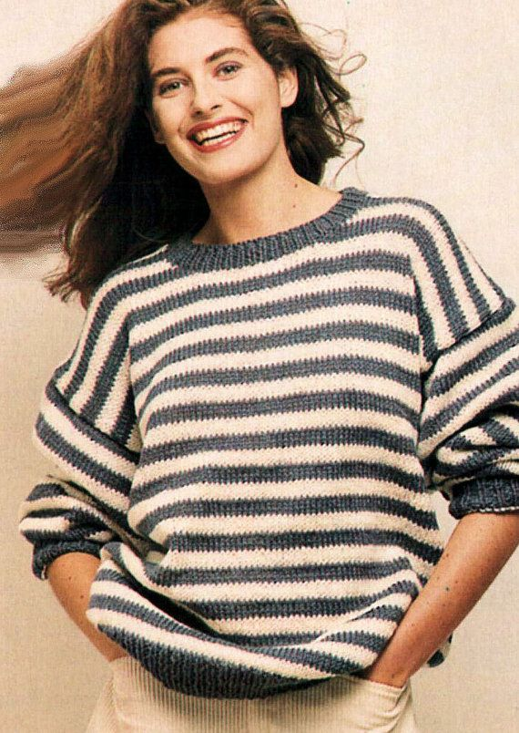 Instant Download PDF Vintage Eighties KNITTING PATTERN to make Striped Sloppy  Joe Baggy Sweater Unisex Large sizes 38 to 46 inch Bust Chest 78bbde3b2